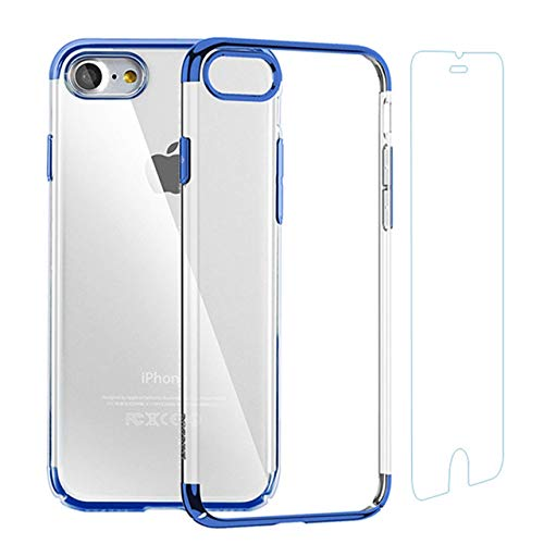 Case for iPhone and Screen Protector Set Crystal Clear Anti-Scratch TPU Cover Case with Tempered Glass Screen Protector and Soft Shock Absorption Bumper for iPhone 6 Plus/6s Plus (Blue)