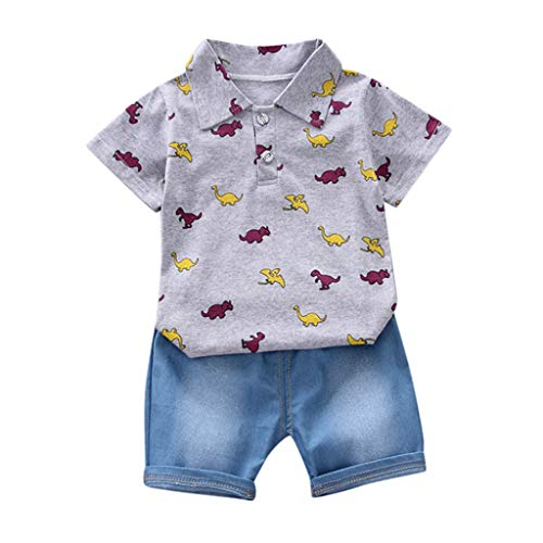 - Toddler Baby Boys 2pcs Summer Outfit Short Sleeve Dinosaur Print T-Shirt Tops+Denim Shorts Clothes Set Yamally (2-3 Years, Gray)