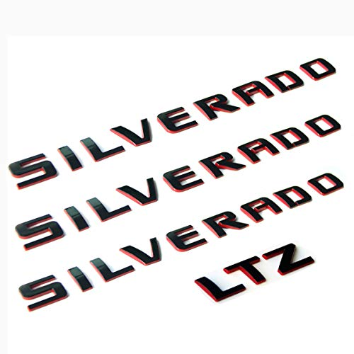 Yoaoo 3x OEM Silverado Nameplate Plus Ltz Letter Emblems 3D Badge 1500 2500Hd 3500Hd Original Silverado Series Red Line Redline
