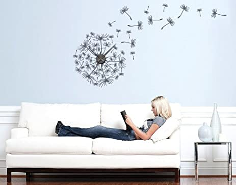 Amazoncom Dandelions Wall Decal Clock by Style Apply wall