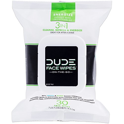 DUDE Face Wipes, Energizing & Refreshing Scent, Infused with Pro Vitamin B-5 (1 Pack, 30ct Per Pack)