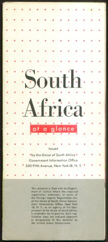 South Africa At A Glance Government Info Map & Guide 1950s
