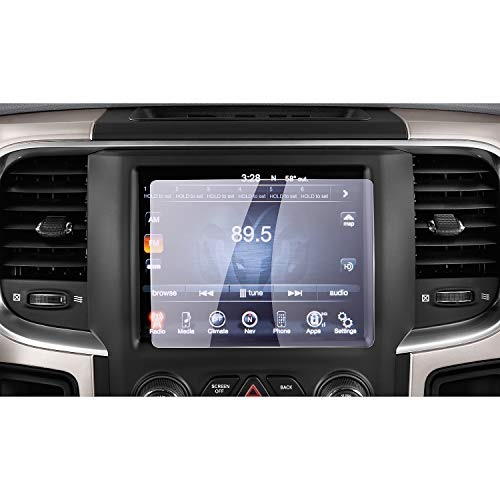 2013-2018 Dodge Ram 1500 2500 3500 Uconnect Touch Screen Car Display Navigation Screen Protector, RUIYA HD Clear Tempered Glass Car in-Dash Screen Protective Film (8.4-Inch Anti Blue Ray)