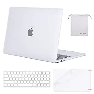 MOSISO MacBook Pro 13 Inch Case 2019 2018 2017 2016 A2159 A1989 A1706 A1708,Plastic Hard Shell Case&Keyboard Cover&Screen Protector&Storage Bag Compatible with MacBook Pro 13 Inch, Frost