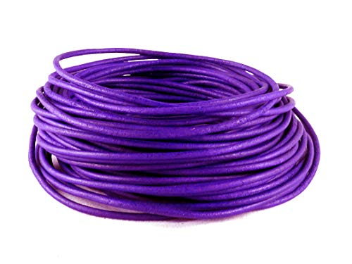 (cords craft 2.0mm Genuine Round Leather Cord Leather String Matte Finish for Jewelry Making Bracelet Necklace Beading, 10 Meters / 10.93 Yards, Natural Dye (Violet))