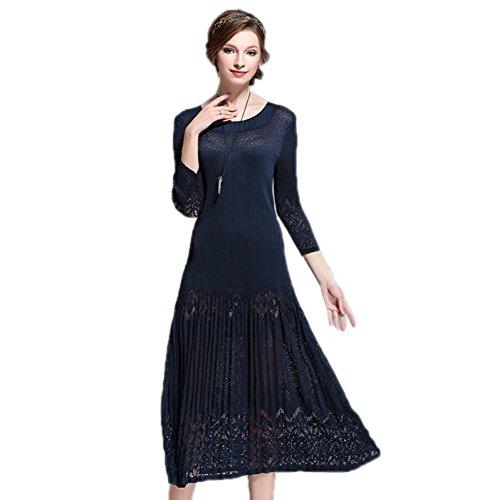 Dress Solid 4 Sleeve Color Waist 3 Formal cotyledon Long Deep Spring Dresses Blue Women`s High Scoop Neck nPpq1w6