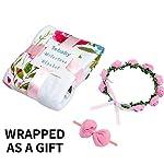 Baby-Monthly-Milestone-Blanket-Girl-Large-60×40-Floral-Plush-Fleece-Photography-Background-Prop-Newborn-Baby-Shower-Gift-Soft-Wrinkle-Free-Flower-Blanket-Bonus-Wreath-Headband