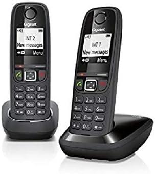 Gigaset AS405 Duo DECT Identificador de Llamadas Negro - Teléfono (Teléfono DECT, Terminal inalámbrico, Altavoz, 100 entradas, Identificador de Llamadas, Negro)