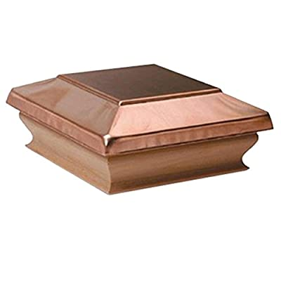 Woodway Products 870.1890 4-by-4-Inch Large Redwood Copper Flat Top Post Cap