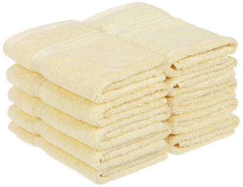 Superior 100% Long Staple Combed Cotton Face Towels, 10 Piece, Canary