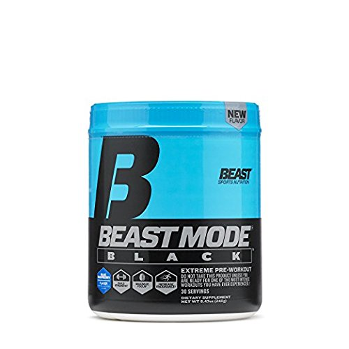 Beast Sports Nutrition Beast Mode Black Pre-Workout Formula. Explosive Energy & Sharp Focus. Agmatine for Massive Pumps, Calcium Fructoborate For Maximum Testosterone. 30 Servings, Blue Raspberry