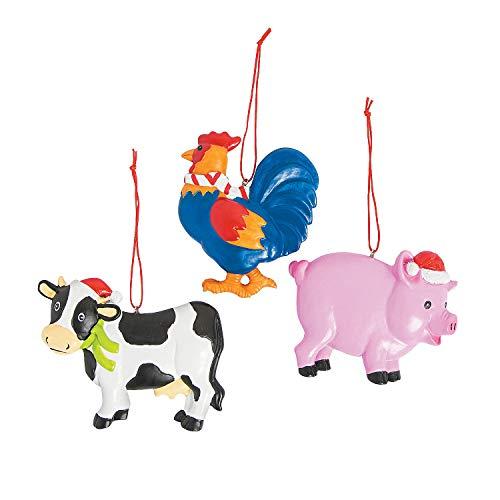 Fun Express FARM ANIMAL ORNAMENTS -