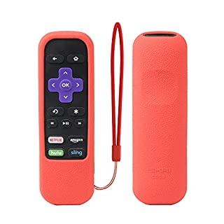 Roku Express Remote Case SIKAI Shockproof Protective Cover for Roku Express/Roku Premiere RC68/RC69/RC108/RC112 Standard IR Remote Skin-Friendly Anti-Lost with Loop (Red)