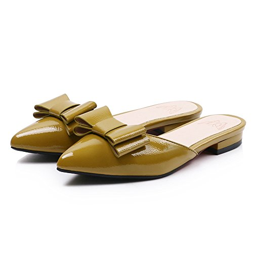 Flowers Bowknot Pointed Mules Yellow TAOFFEN Toe Women qUzt4t