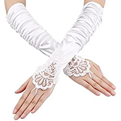 Sumind Fingerless Gloves Lace Sequins Satin Gloves for Party Bridal (White)
