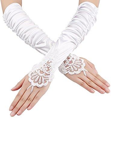 Elbow Length Satin Fingerless Gloves - Sumind Fingerless Gloves Lace Sequins Satin Gloves for Party Bridal (White)