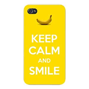 Apple Iphone Custom Case 6 4.7 White Plastic Snap on - Keep Calm and Smile w/ Yellow Banana Fruit