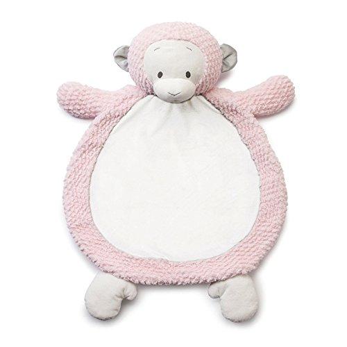 DEMDACO Milene Monkey Rose Pink 25 x 30 Inch Children's Plush Infant Blanket and Play Mat