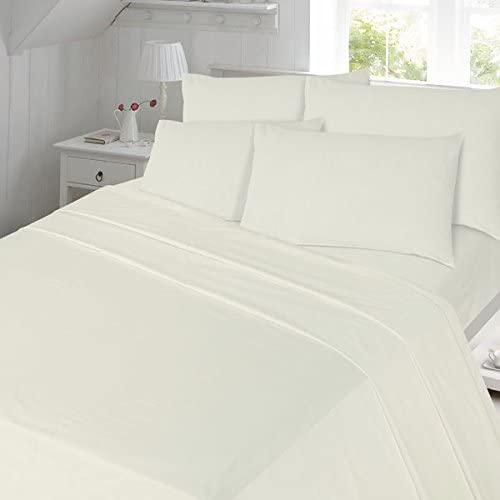 Double Night Zone Plain Dyed 100/% Brushed Cotton Flannelette Flat Sheet Cream