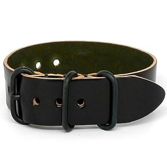 DaLuca Shell Cordovan 1 Piece NATO Watch Strap - Black (PVD Buckle) : 20mm