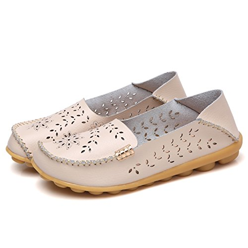 Scien B Women's Slippers Driving Loafers Slip Beige Moccasins Walking on Casual Leather Shoes Flat XX7wxr