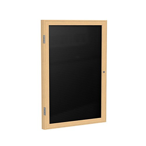 Ghent 36'' x 24'' 1 Door Enclosed Flannel Letter Board, Black Letter Panel, Wood Frame Oak Finish (PW13624B-BK) by Ghent
