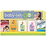 Johnson & Johnson Baby Set Go Travel Essentials Gift Set (Childrens' Tylenol, Shampoo, Wash, Lotion, Desitin)