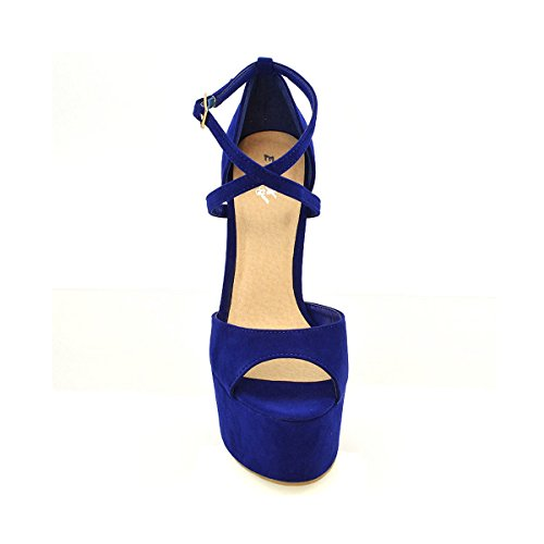 Heel Ankle 5 8 Strappy Ladies Toe Navy Platform Sandals Peep 4 Womens Stiletto Suede Strap Shoes High 7 6 3 Size q8wZ01Ux