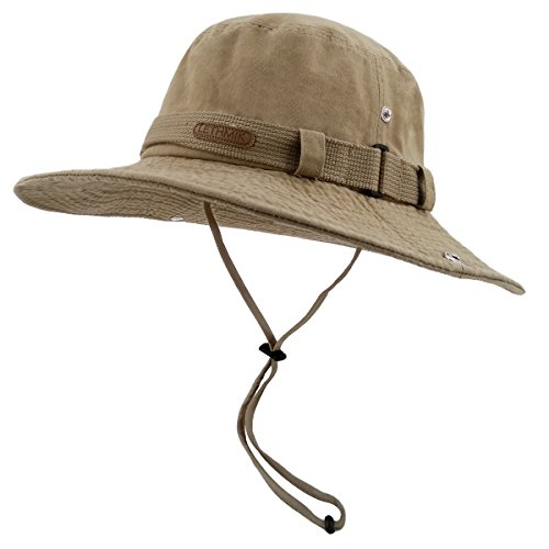 LETHMIK Washed Cotton boonie Hat Outdoor Unisex Fishing Camping Safari Sun Hat Khaki (Packable Cotton)
