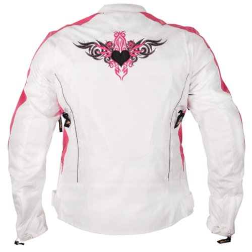 Xelement BXU358924 Tribal Heart Womens White/Pink Tri-Tex Motorcycle Jacket - Large