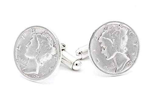 (Mercury Dime Cufflinks Sterling Silver Fittings. Made in the USA)