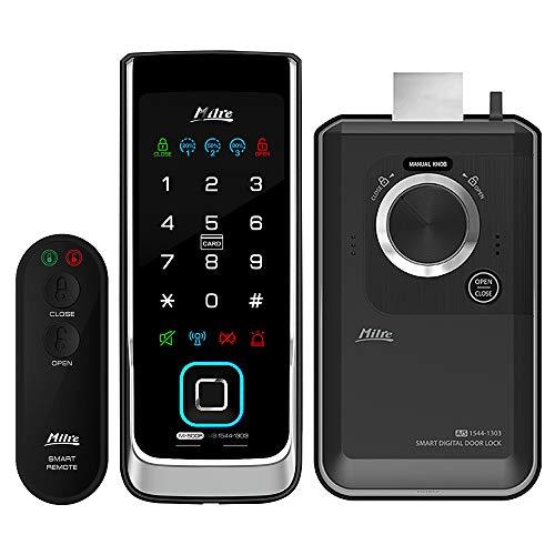 MILRE MI-500F Digital Rim Lock, Biometric Fingerprint, Remote Control, Notification Lamps, Double Locking, Manager Mode, Trespass Alarm, Battery Alarm, High Temperature Warning