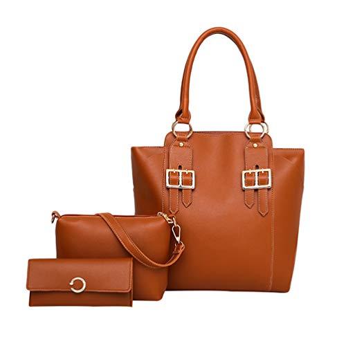 Dexinx Giovani Signore Charming Leather Tote Bags Casual Borsa a tracolla Shiny borsa Set di 3 pezzi Marrone