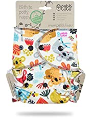 Petit Lulu - Pañal de bambú ajustable, Maxi-Night, broches, esponjoso, orgánico, reutilizable y lavable, fabricado en Europa Koalas frisky
