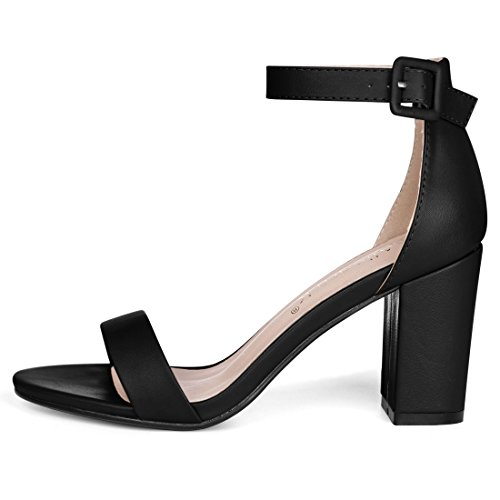 Chunky Ankle Women Sandals Allegra High K Strap Heel Black Open Toe PpqPfxw