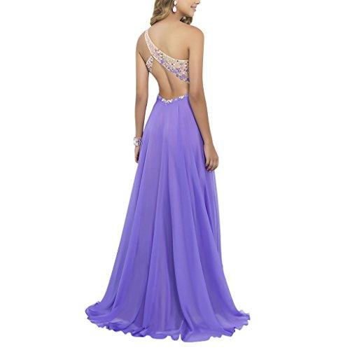 Shoulder Brautjungfer Sommer kleid Langes Asymmetrische Lila Judi Cocktailkleid Damen Abendkleid Dench One qAYca0t