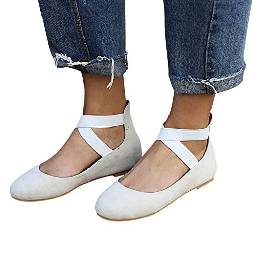 Ballet Flat Shoes for Women Closed Pointed Toe Criss-Cross Elastic Ankle Strap Summer Comfort Sandals