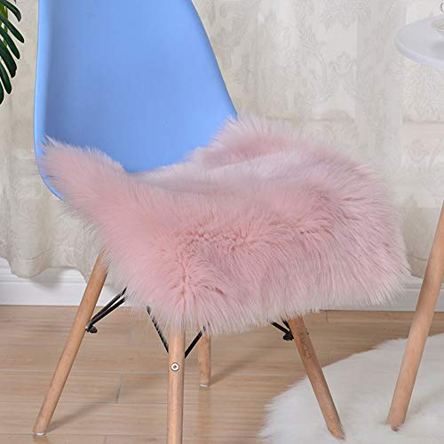 Price comparison product image Alusbell Faux Sheepskin Wool Chair Pad Car Office Chair Sofa Fur Area Rug Warm Winter Seat Cushion 17''x17''