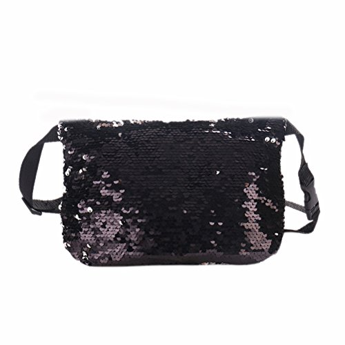 Bag Handbag Bling Black Cosmetic Reversible Sequin Evening and Glitter Party Pouch Bag Silver FENICAL Bag q8aPfnw