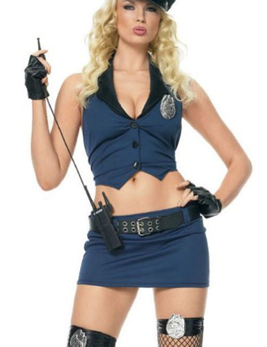 Sexy Drill Sargeant Costume,Blue,Medium / Large