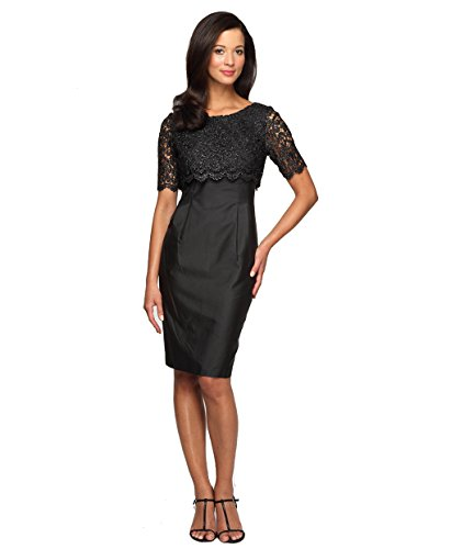 High Society Dress (Alex Evenings 112411M, Sparkling High Society Lace Dress Size:6 Color:Black)
