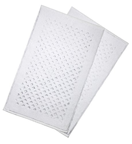 American Bath Towels Diamond-Patterned Bath Mat, Floor Mat, 2 Pack, 900 GSM, 21x34 Inches, 100% Ringspun Cotton, Luxury Hotel & Spa Quality, Absorbent and Soft, Machine Washable, Cotton White - American Bath Towels offers you everything you need. You can use them in your home, bathroom, hotel, spa, and anywhere you need. 900 GSM Bath Mat offers ultra-absorbency and durability for daily use.Bath mat is used specifically right outside the tub to absorb water following a shower or bath. Please note they are bath mats NOT bath rugs! Ring-spun cotton gives your skin a softer feel. - bathroom-linens, bathroom, bath-mats - 41wiHCxZ4IL -
