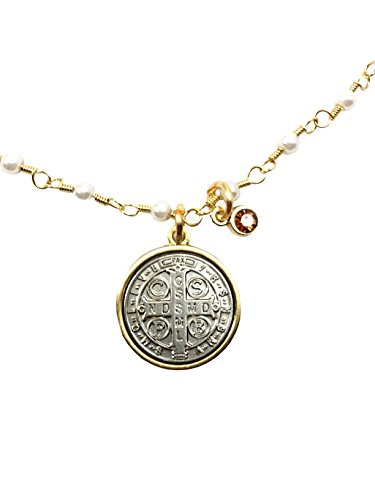 CB Vintage Blessing Two Toned Saint Benedict Medal Pendant Necklace for Woman or Girl on 16