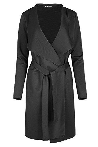 Fashion Star Ladies Oversized Waterfall Italian Blazers Long Sleeve Belted Duster Coat Black
