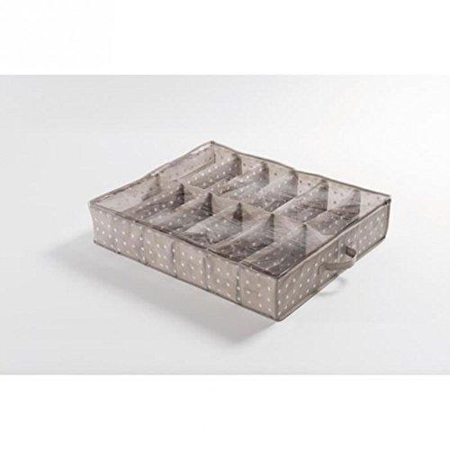 Compactor Rivoli 12 Compartment Under bed Shoe Storage Bag, Cappuccino/White