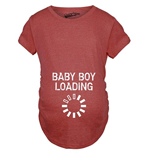 Crazy Dog TShirts - Maternity Baby Boy Loading Funny Nerdy Pregnancy Announcement T shirt (Red) L - damen - L