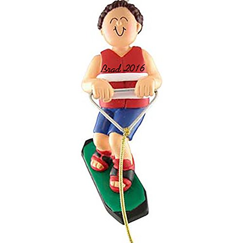 Wakeboarder Personalized Christmas Ornament - Boy - Brown Hair - Handpainted Resin - 4.5