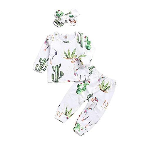 Toddler Cactus Print Clothes Long Pants Baby Boy Girl Llama Outfits Set Long Sleeve T-Shirt Top (Llama, 90/12-18M)