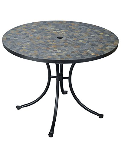 Stone Harbor Slate Tile Top Outdoor Dining Table by Home Styles (Tables Tile)