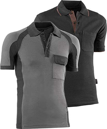 Juba - Polo pique manga corta algodón gris negro talla -s: Amazon ...